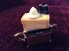 Small Brown Chest Yellow Suitcase Hat Binoculars Figurine Resembles a Teapot image 3