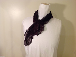 Small Triangle Black Floral Lace Scarf image 2