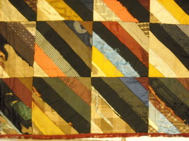 Small  antique quilt with silk fabrics diagonal stripes image 2