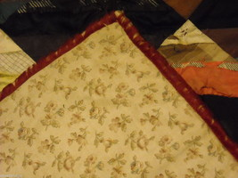 Small  antique quilt with silk fabrics diagonal stripes image 3