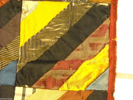 Small  antique quilt with silk fabrics diagonal stripes image 4