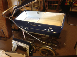 Vintage mid 1900s Perego pram perambulator for display museum theatre props