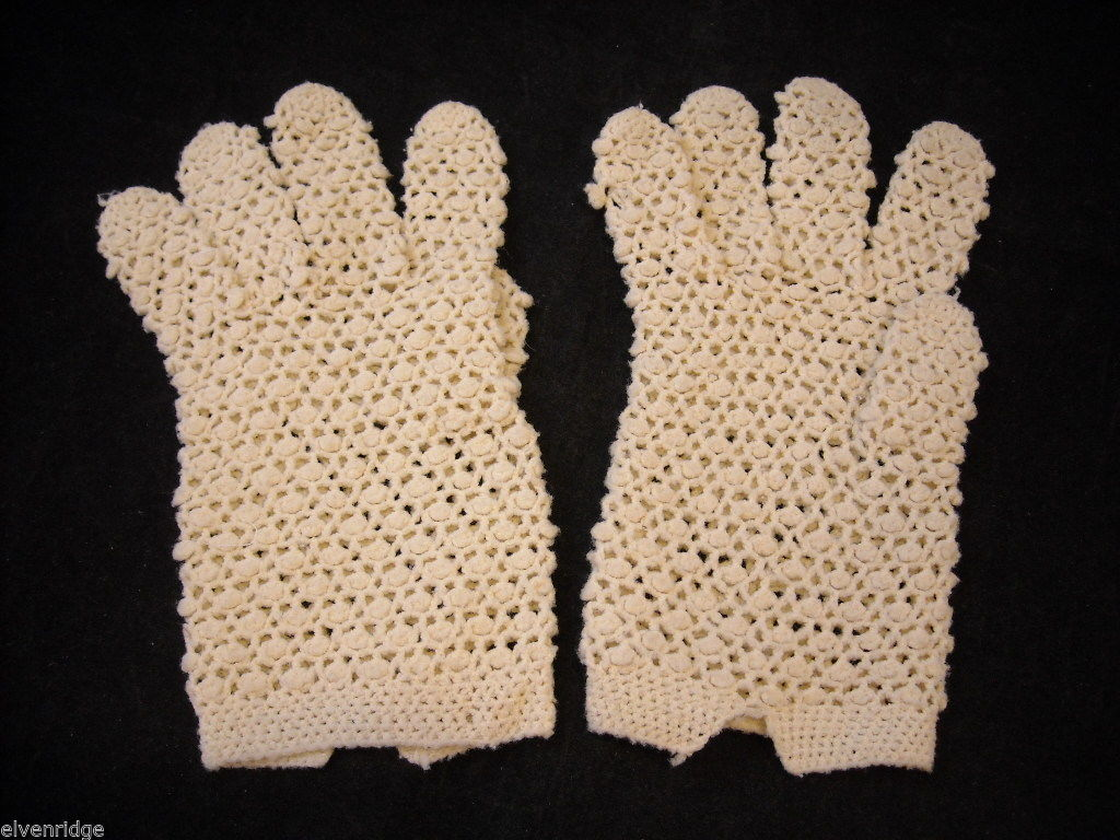 Vintage pair of White Crocheted Gloves
