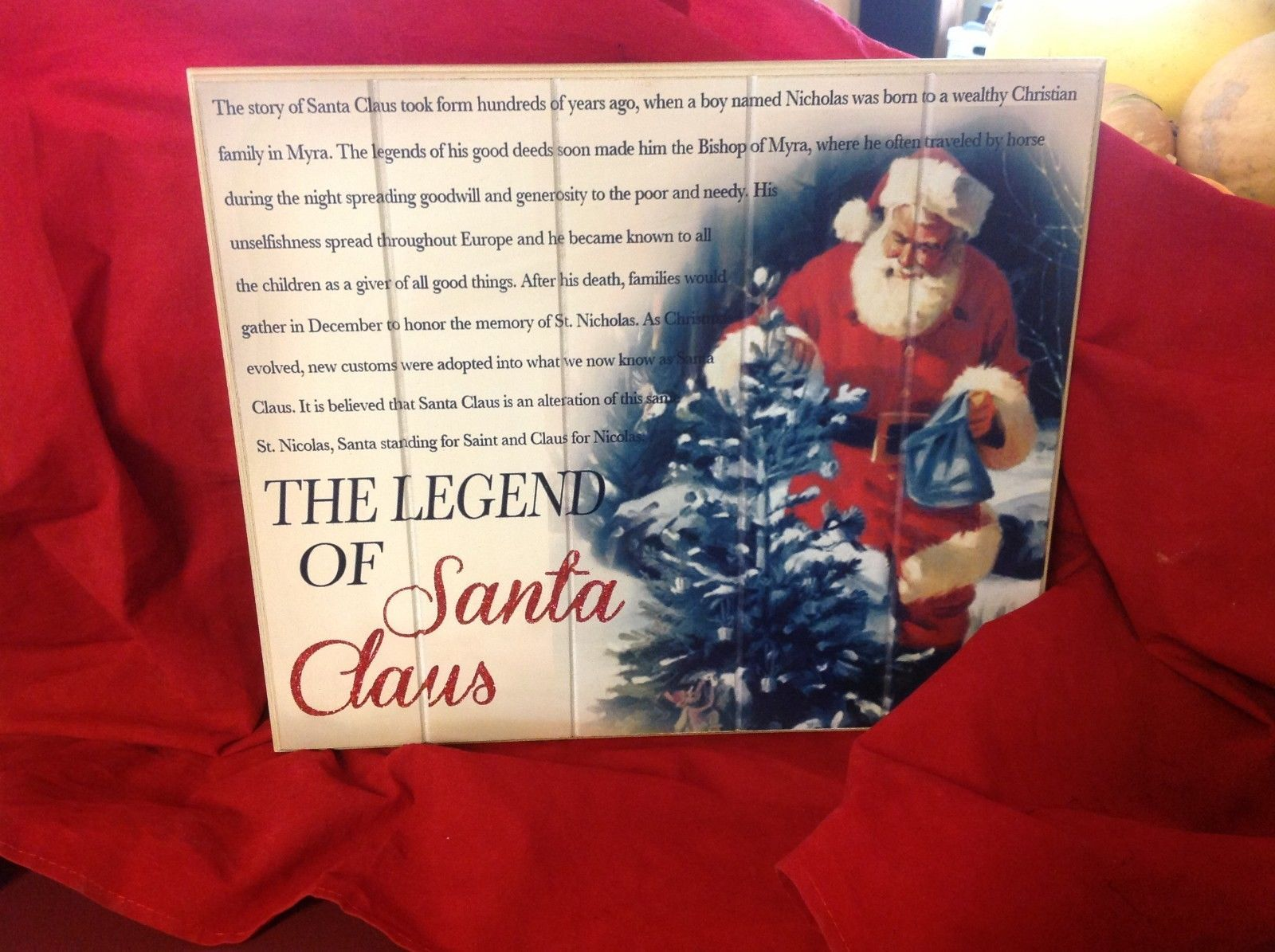 Wall Plaque Legend of Christmas Santa Claus with story and glitter