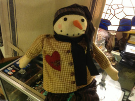Warm hearted snowman with primitive clothes nose houndstooth jacket beanbag butt