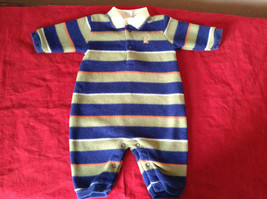 Warm Baby One Piece  Little Me Blue Green White and Orange Striped Size 3 Months