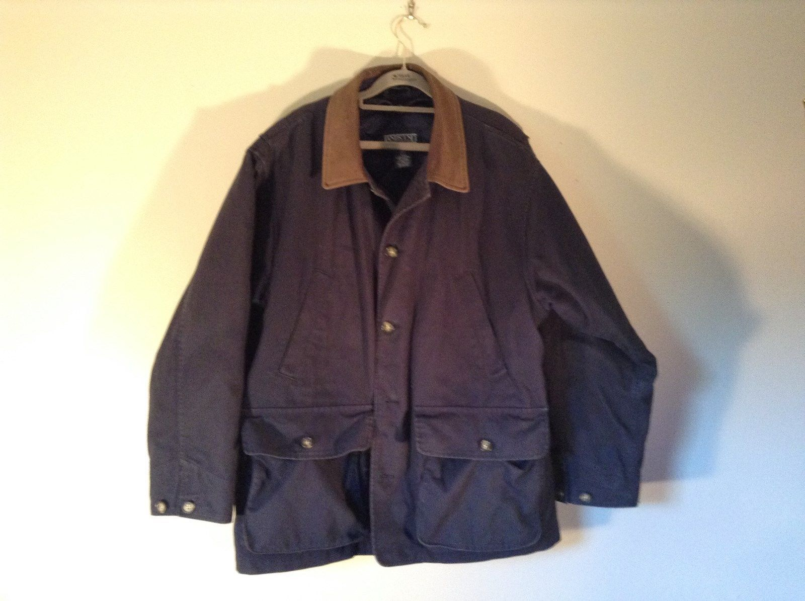 Warm Winter Dark Blue Coat Lands End Size L 42 to 44 Leather Trim Four Pockets