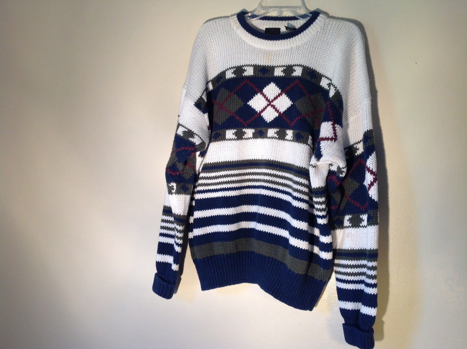 Warm Heavy Structure Winter Sweater Patterned White Green Navy Blue Size Large