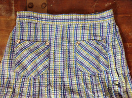 Basic Editions Blue Green Purple Plaid Raffle Shorts Elastic Waistband Size 7-8 image 2