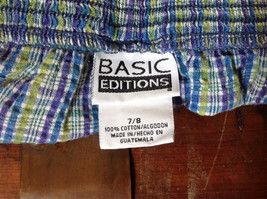 Basic Editions Blue Green Purple Plaid Raffle Shorts Elastic Waistband Size 7-8 image 7