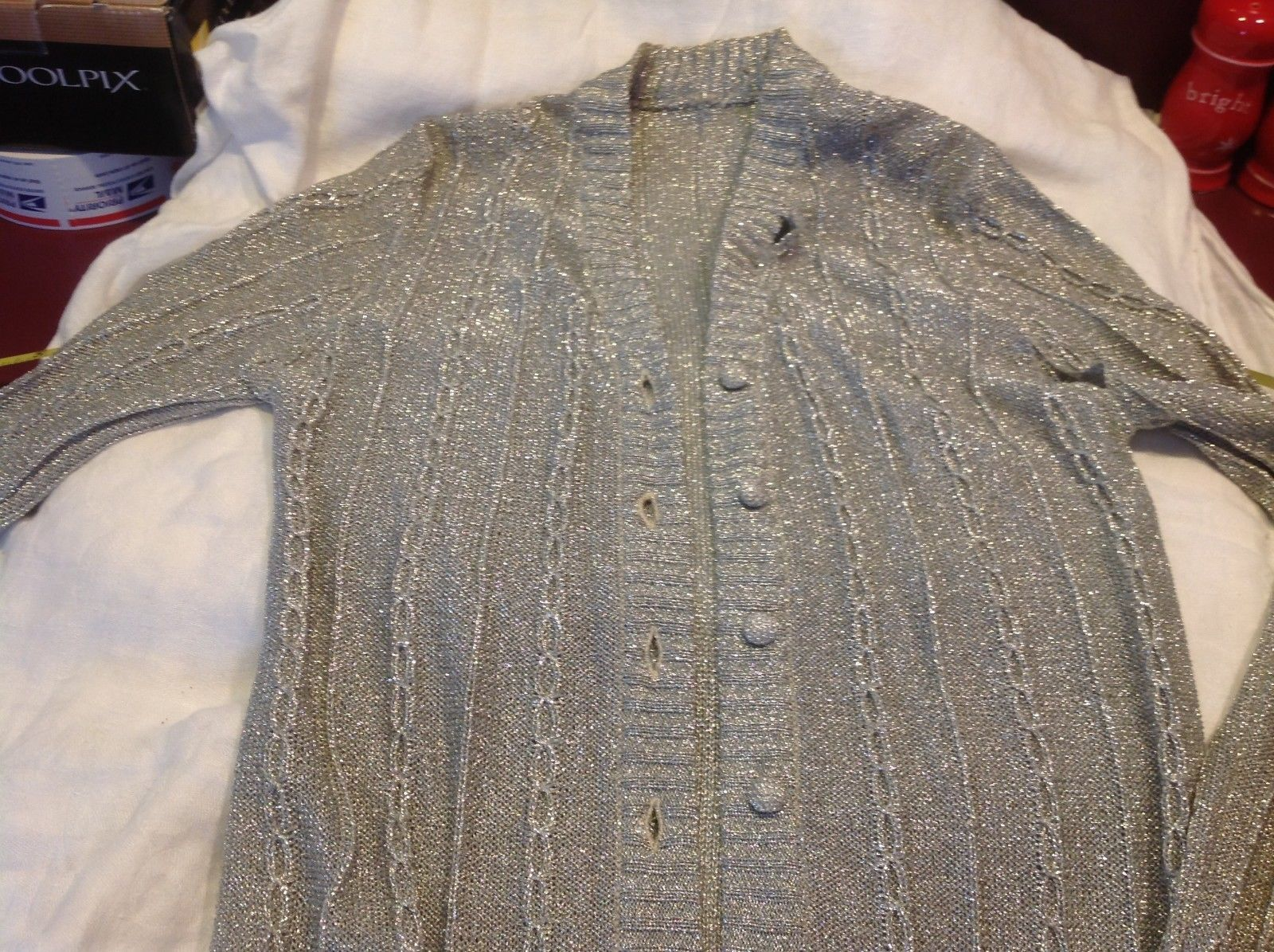 Vintage silver metallic thread long sweater ca 1960s 1970s