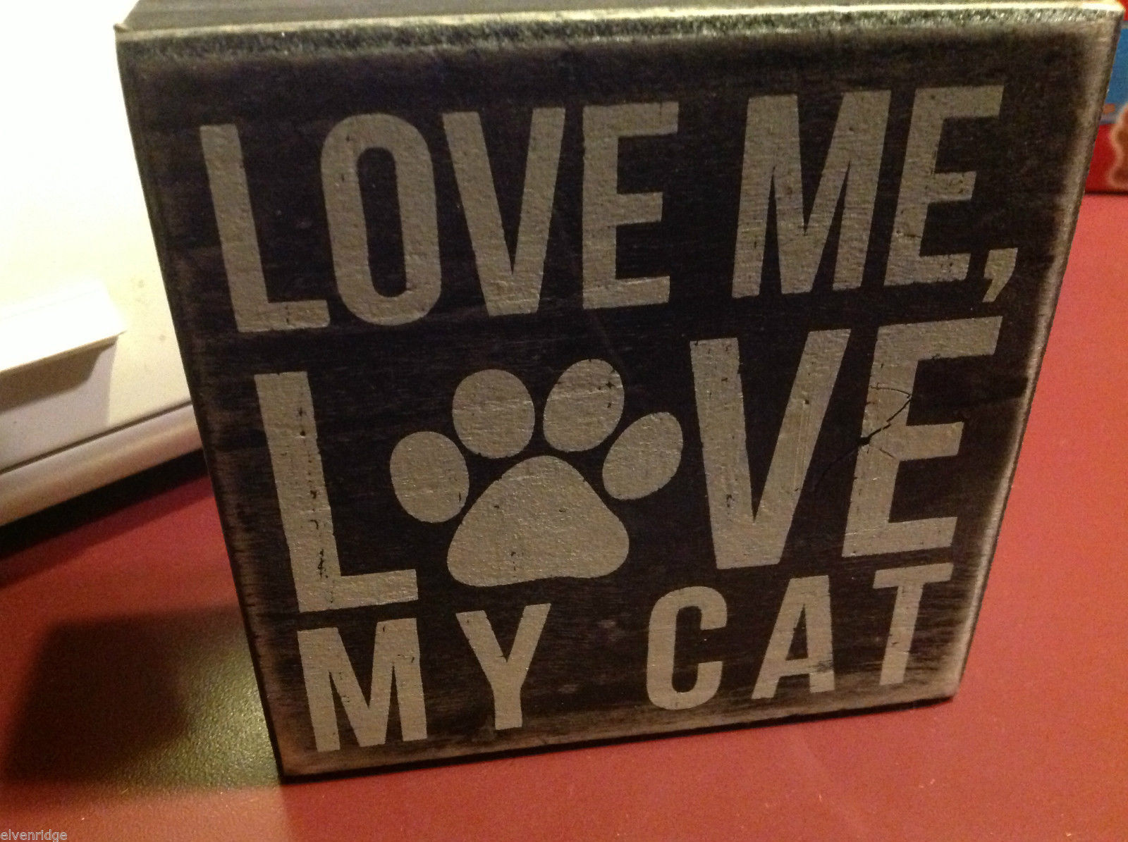 Vintage style wood Box Sign Love Me Love my Cat with cute paw print