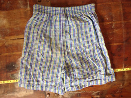 Basic Editions Blue Green Purple Plaid Raffle Shorts Elastic Waistband Size 7-8 image 6