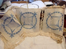 Vintage three panel crocheted lace and embroidered blue flowers from estate
