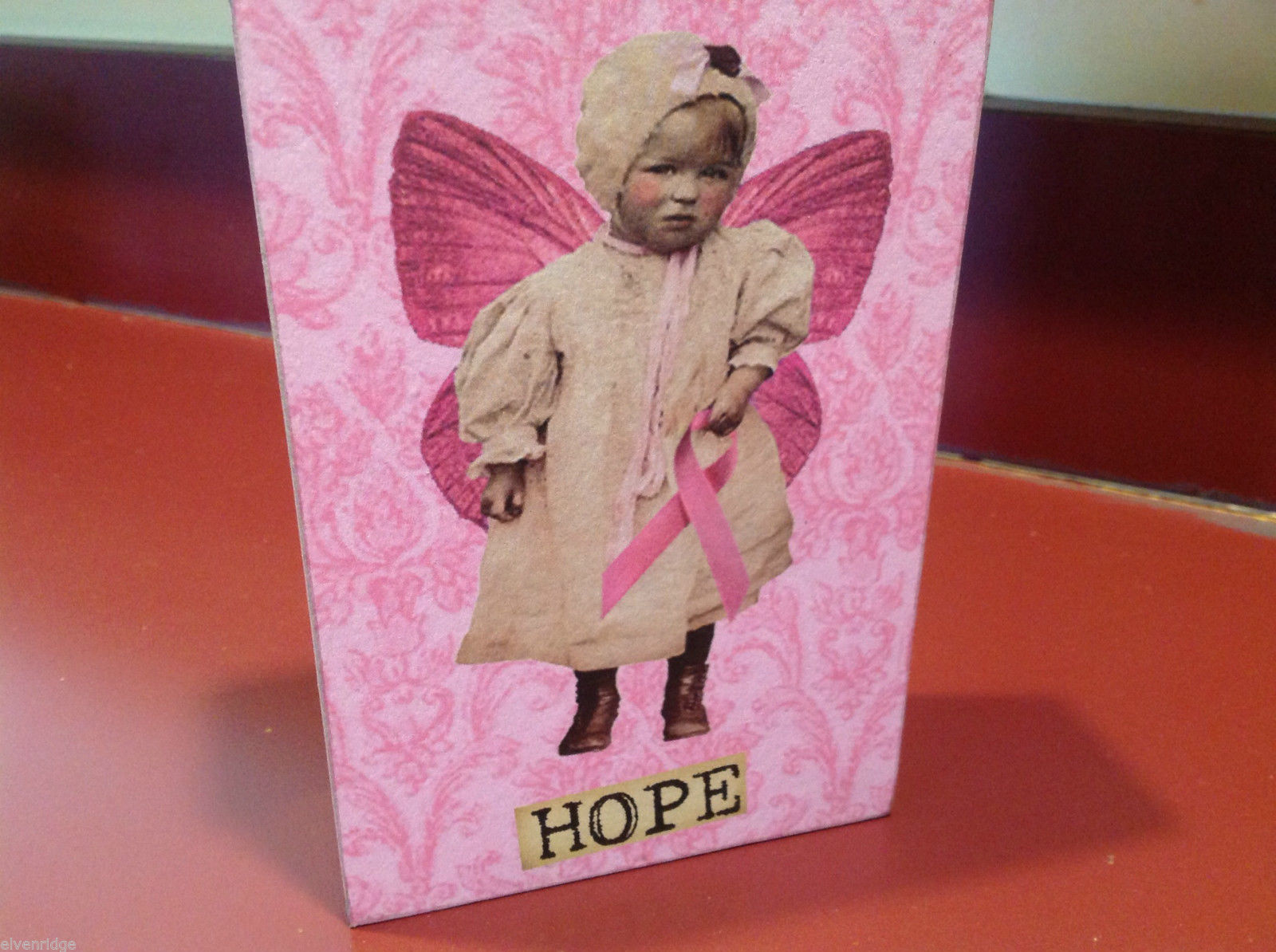 Vintage style wood Box Sign Vintage Angel Baby  Pink Breast Cancer Ribbon HOPE