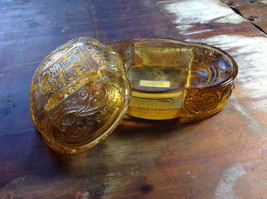 Vintage style Two Piece Amber Glass Box with Lid Chinese Engraving - $39.99