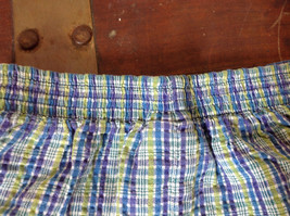 Basic Editions Blue Green Purple Plaid Raffle Shorts Elastic Waistband Size 7-8 image 5