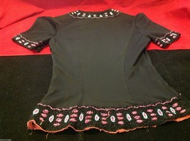 Vintage womans' black short sleeve top with bead design early 1900s