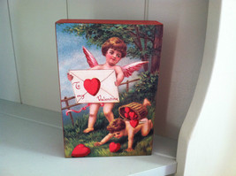 Vintage style Red Wooden Box Sign - Cupids delivering Valentine Letter
