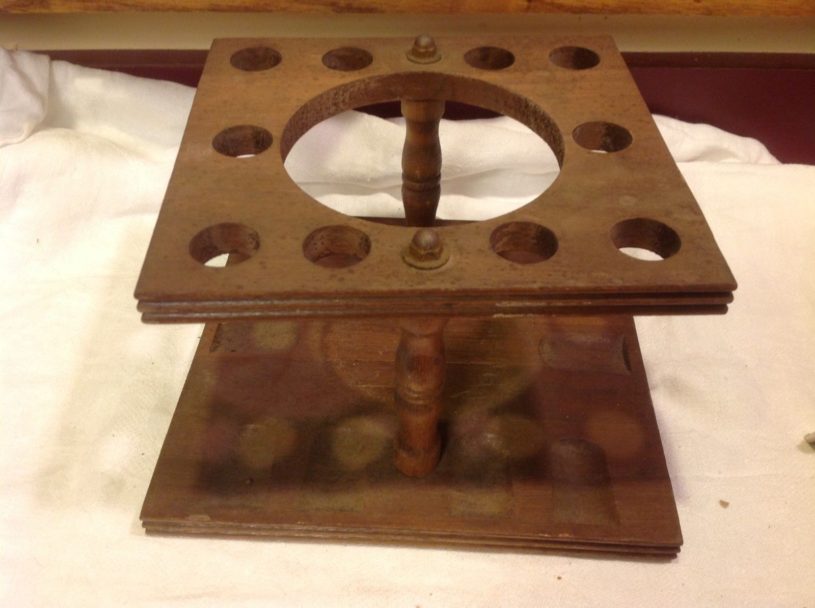 Vintage wood pipe stand from estate #2