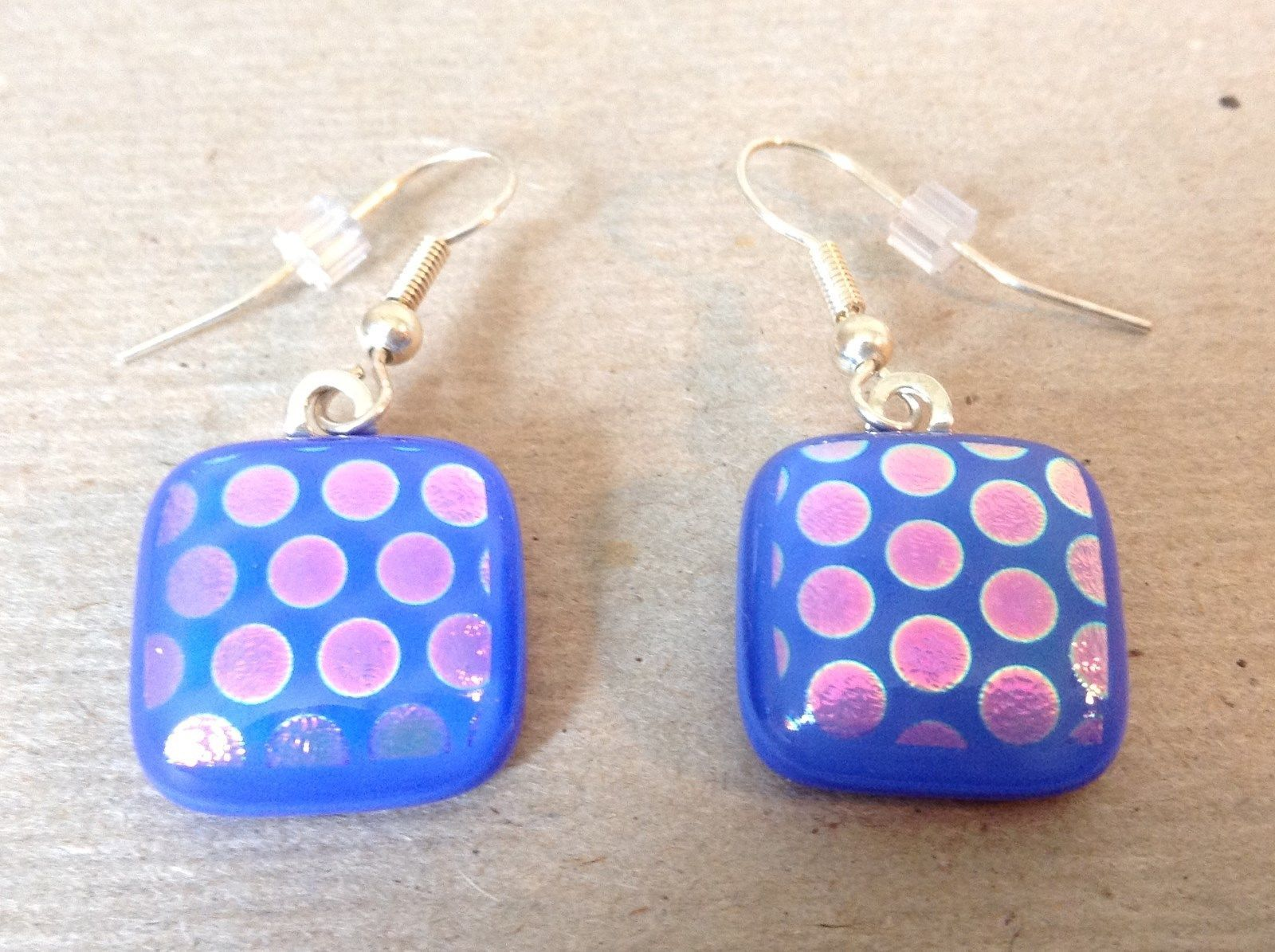Violet Blue Polka Dot Square Shaped Glass Dangling Earrings