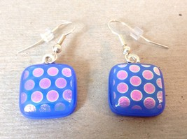 Violet Blue Polka Dot Square Shaped Glass Dangling Earrings image 1