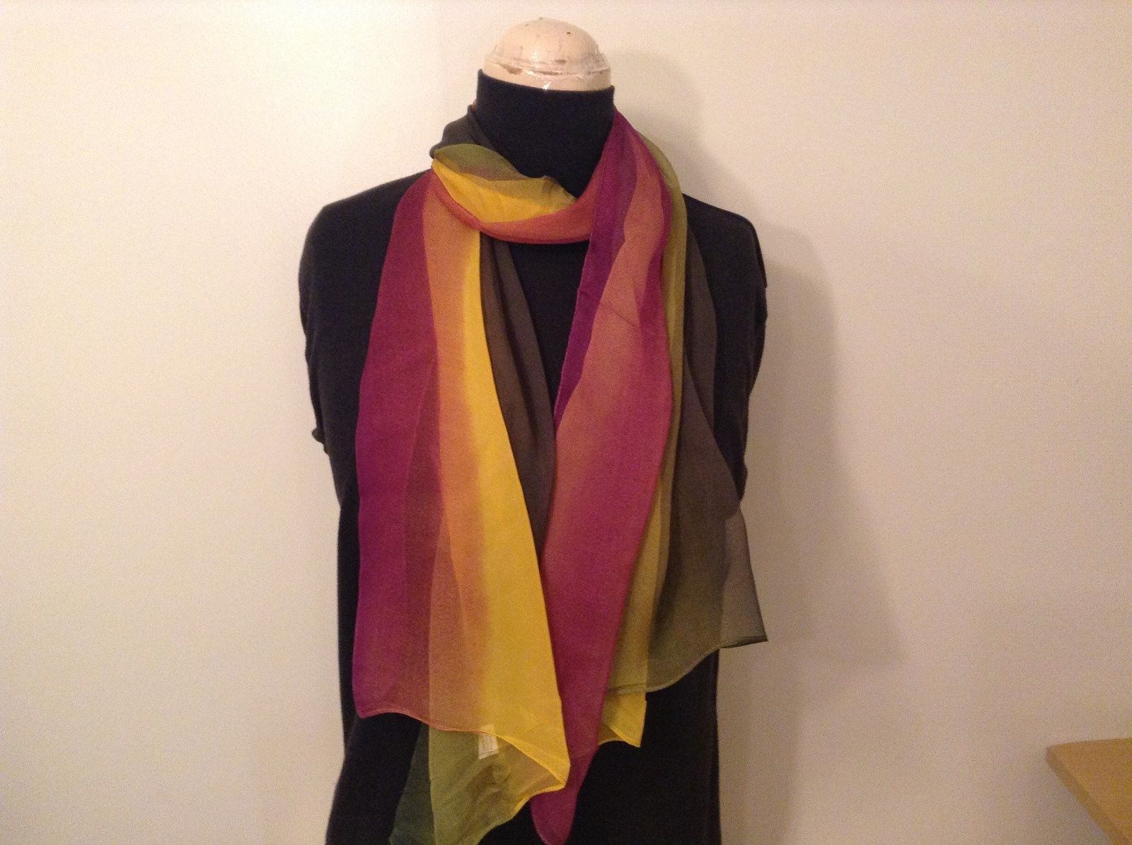Violet Yellow Dark Green Light Sheer 100 Percent Polyester Scarf NEW without Tag