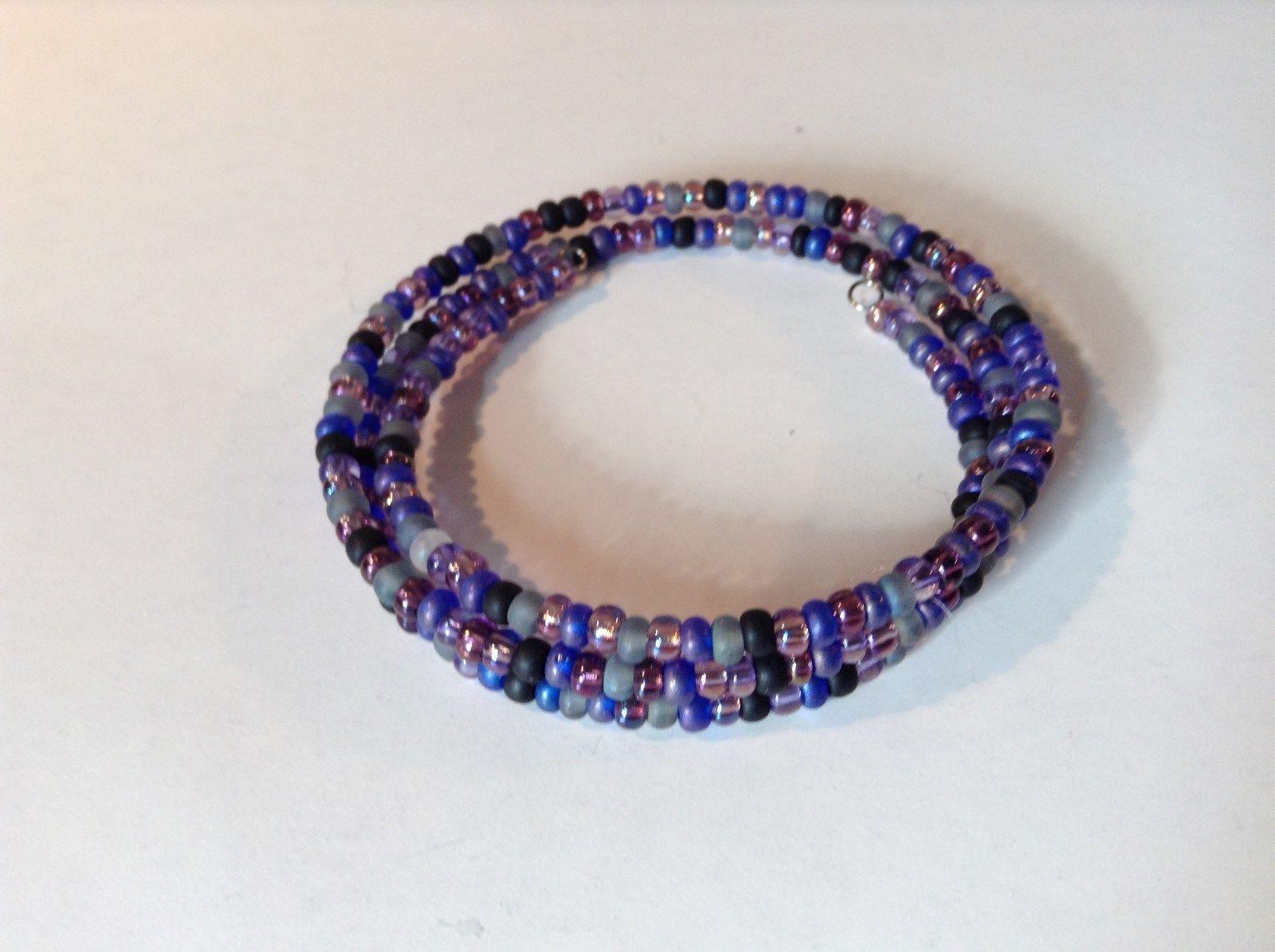 Violet Black Gray Beaded Coil Adjustable Bracelet