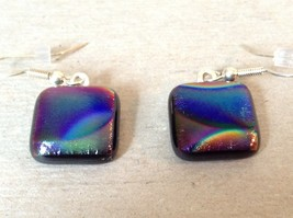 Violet Green Black Metallic Enamel Squared Shaped Glass Dangling Earrings