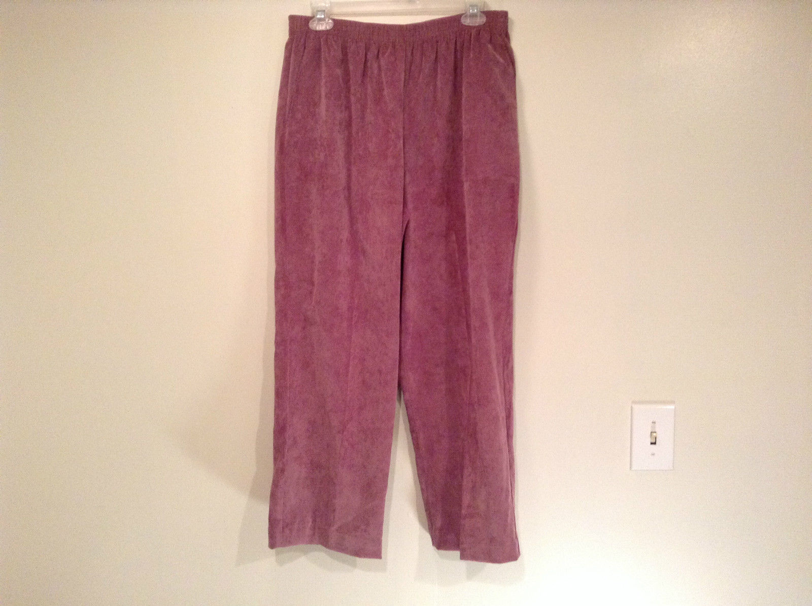 Violet Corduroy Alfred Dunner Stretchy Waist Casual Pants Size 14 Side Pockets
