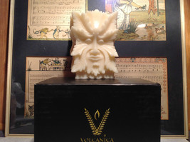 Volcanica Candle Handcrafted Bali Made w Beeswax Palm Wax White Face Leaf Man