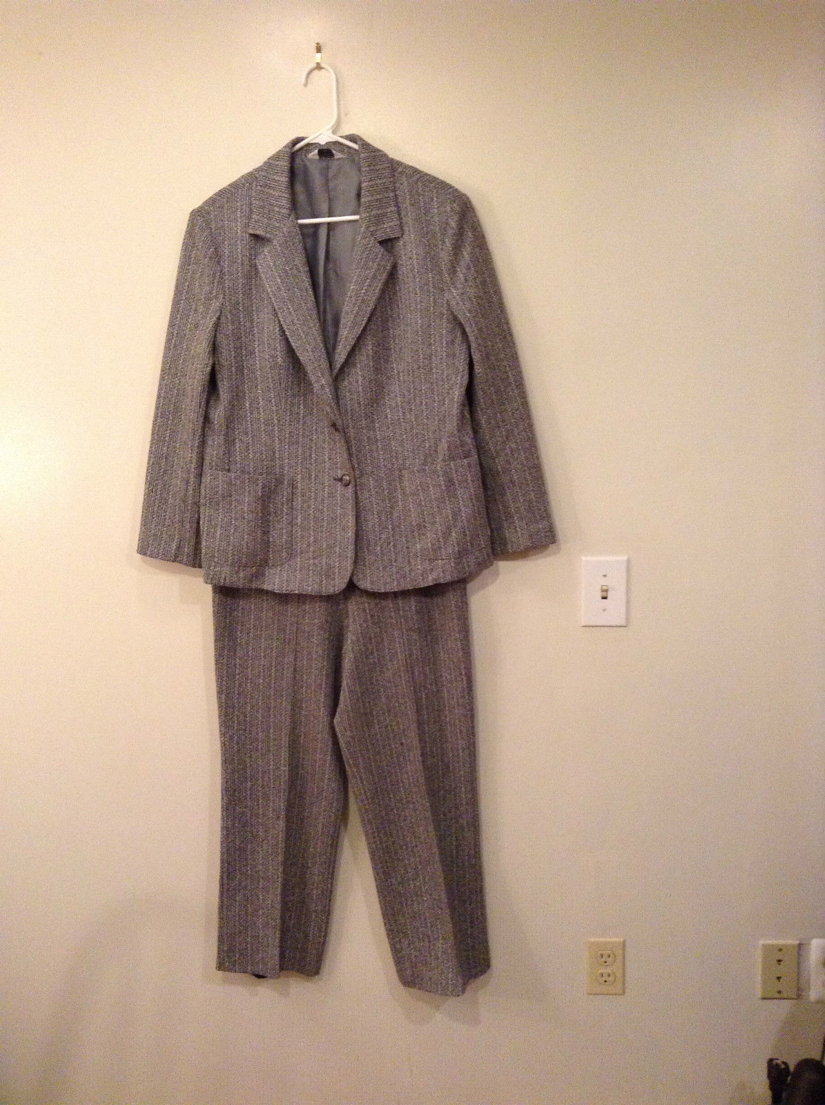 Wardrobe Maker Size 18 Jacket Pant Suit Unlined Black White Stripes Overall Gray
