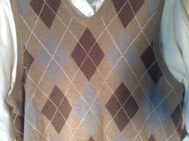 Bass Tan Light Brown Sweater V Neck Casual Diamond Shaped Design Size Small image 2