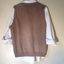 Bass Tan Light Brown Sweater V Neck Casual Diamond Shaped Design Size Small image 4