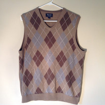 Bass Tan Light Brown Sweater V Neck Casual Diamond Shaped Design Size Small image 5