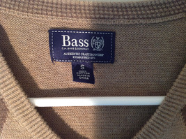 Bass Tan Light Brown Sweater V Neck Casual Diamond Shaped Design Size Small image 6