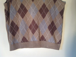 Bass Tan Light Brown Sweater V Neck Casual Diamond Shaped Design Size Small image 8