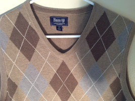 Bass Tan Light Brown Sweater V Neck Casual Diamond Shaped Design Size Small image 7