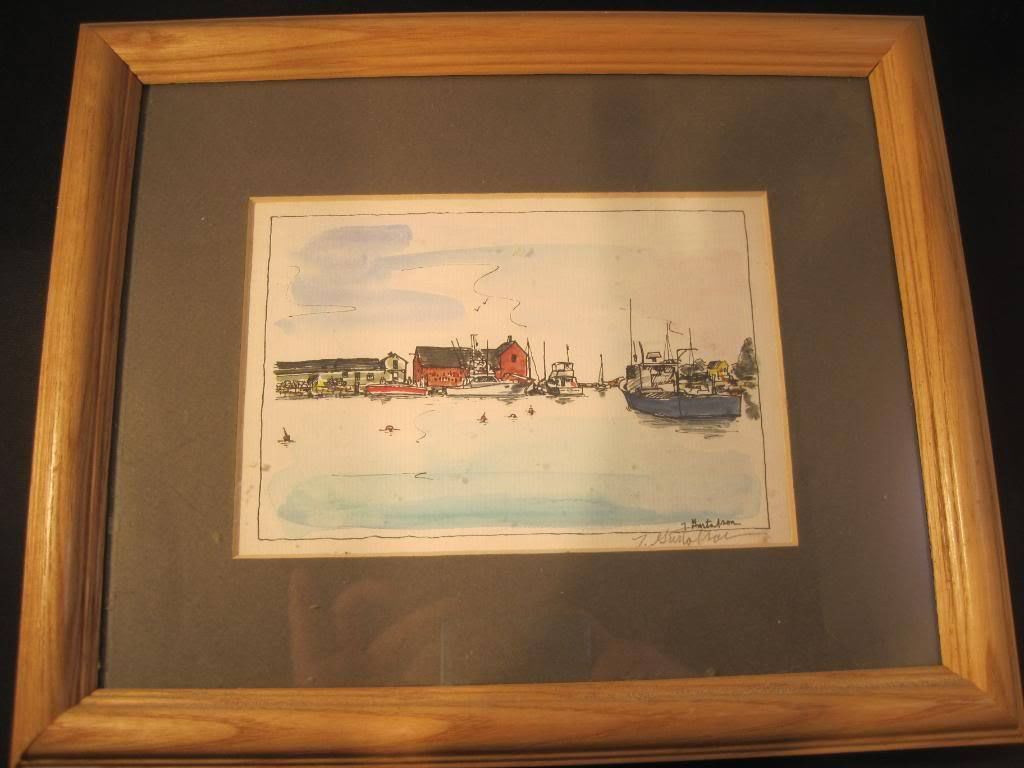 Watercolor Print Seaside Framed Matted