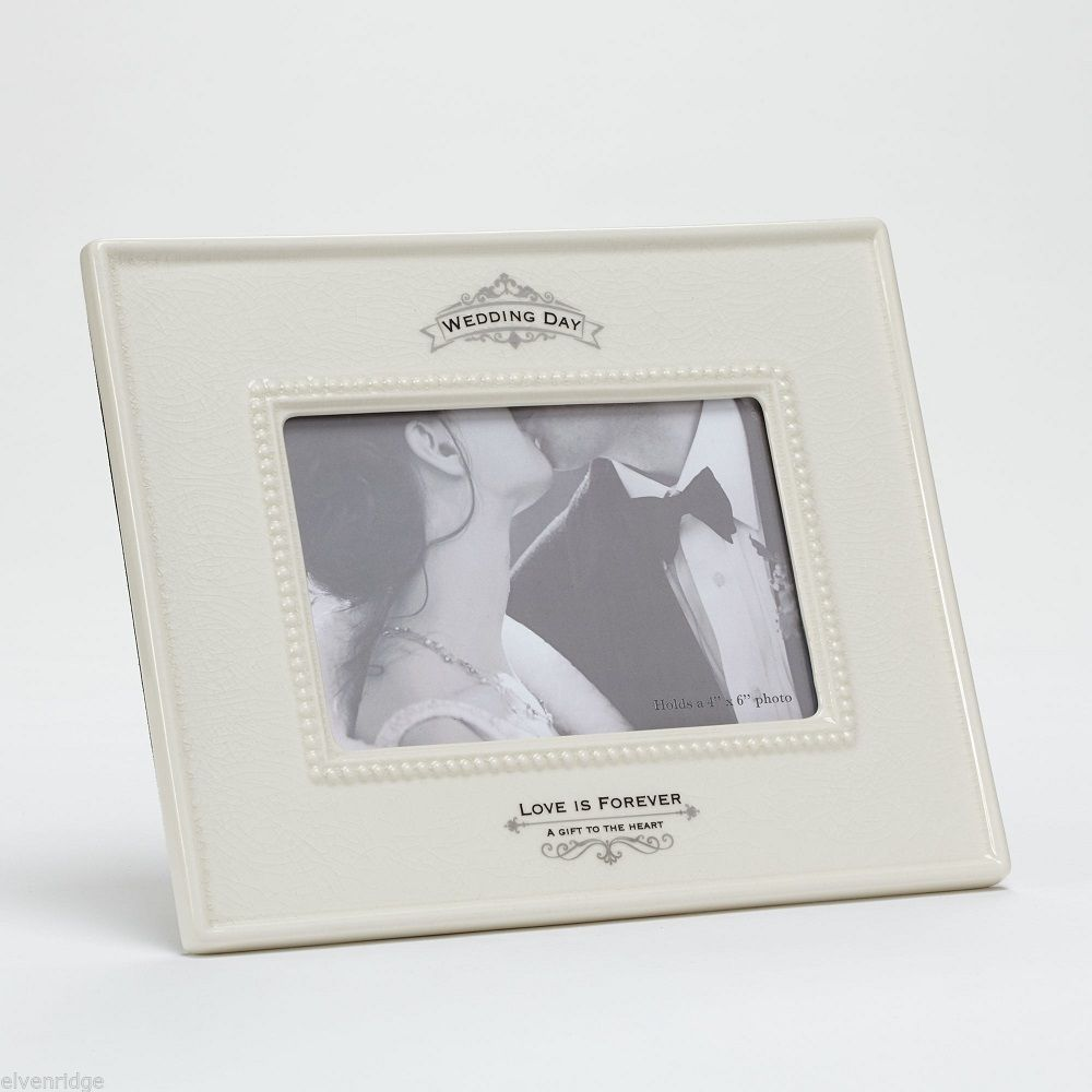 Wedding Day  Ceramic Photo Frame Love is Forever A Gift to the Heart