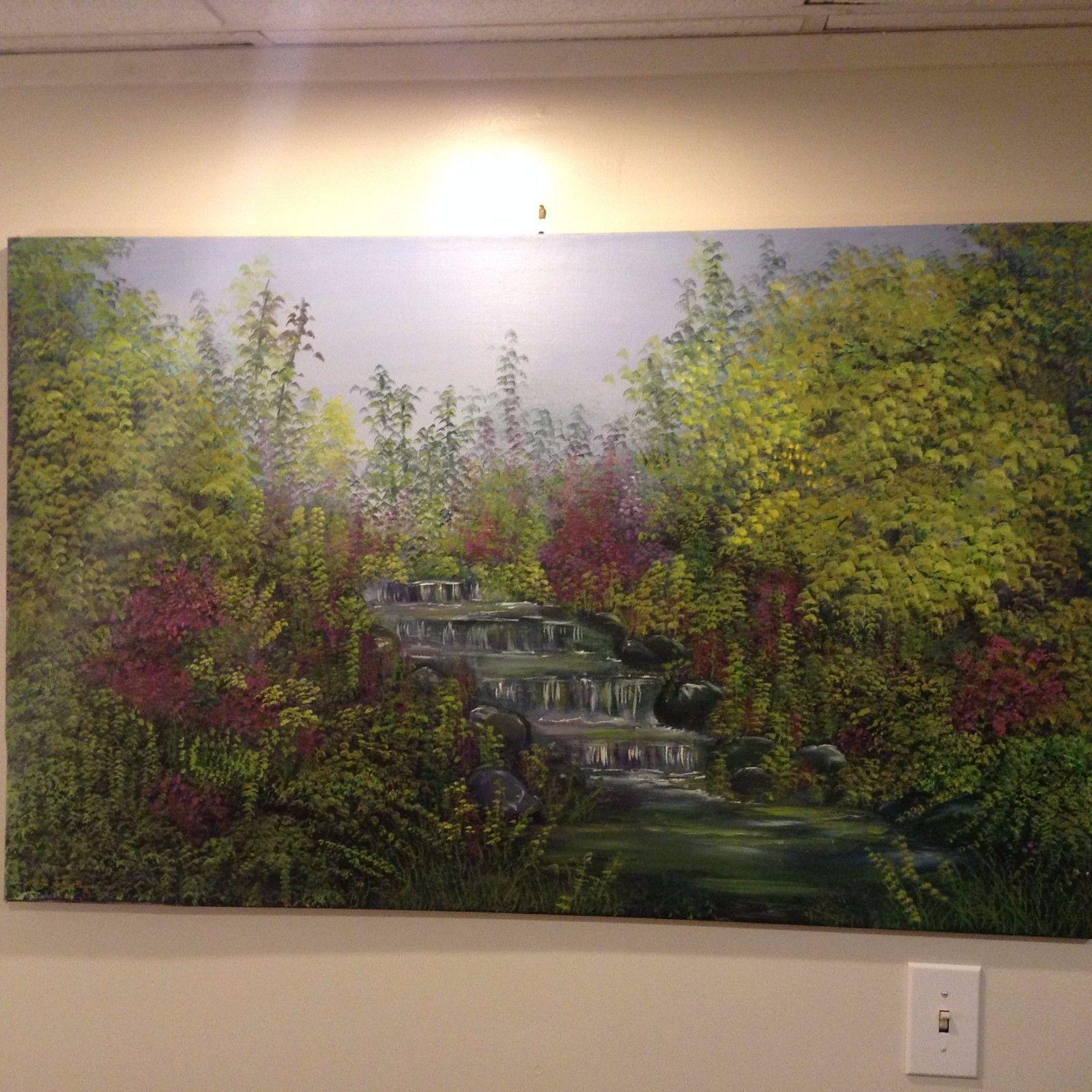 Waterfall Scene Original Canvas Oil Painting Vivian Gaines Tanner Hudson Valley
