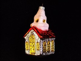 West German Glass Church Christmas Ornament