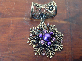 Well Designed Violet Beads Crystals Snowflake Flowers Gold Tone Scarf Pendant