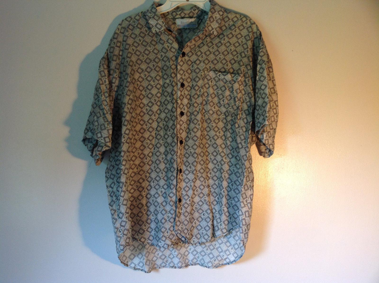 West Bake Spring Silk Size Medium Short Sleeve Button Up Shirt One Pocket