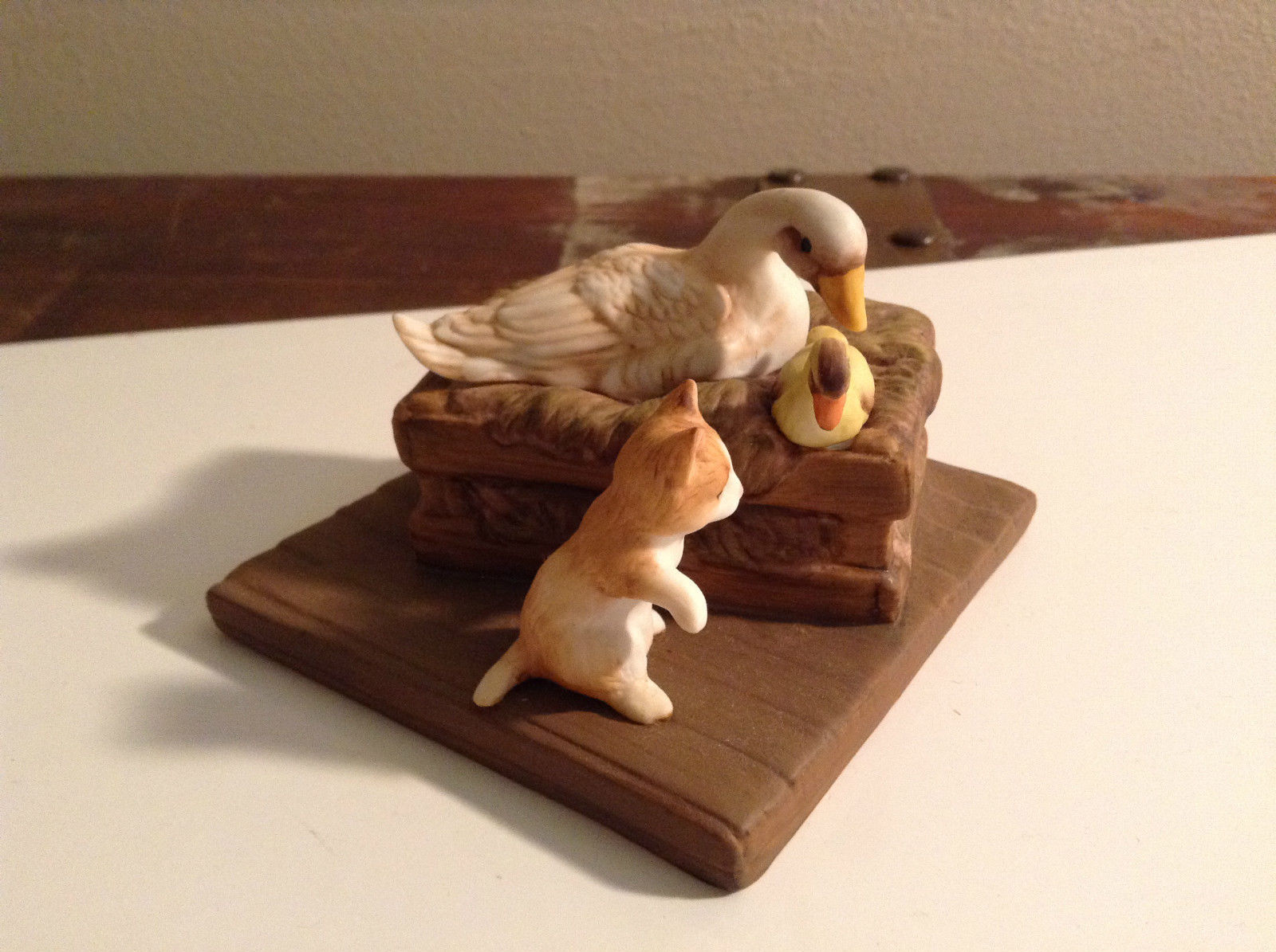 White Duck with Yellow Baby Chick and Brown Kitten Figurine Display Piece