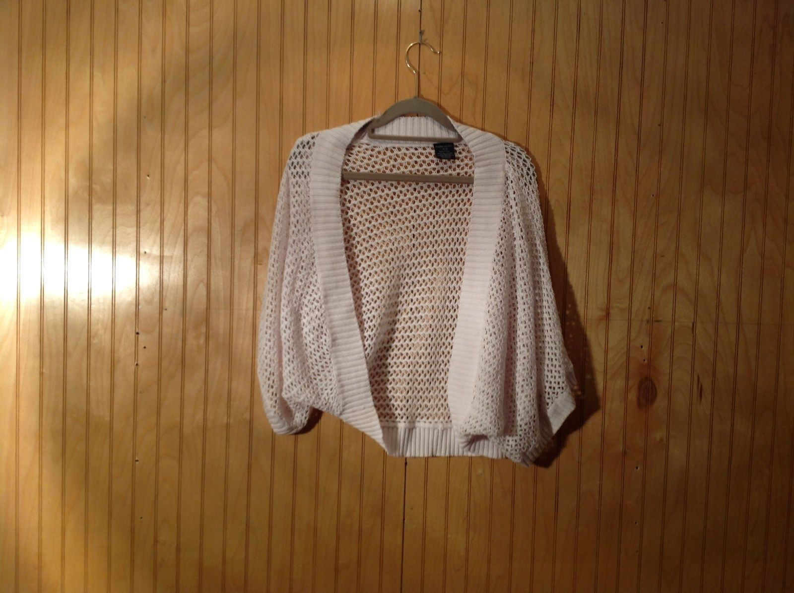 White Faded Glory Knitted Sweater Shawl Size Large 12 to 14