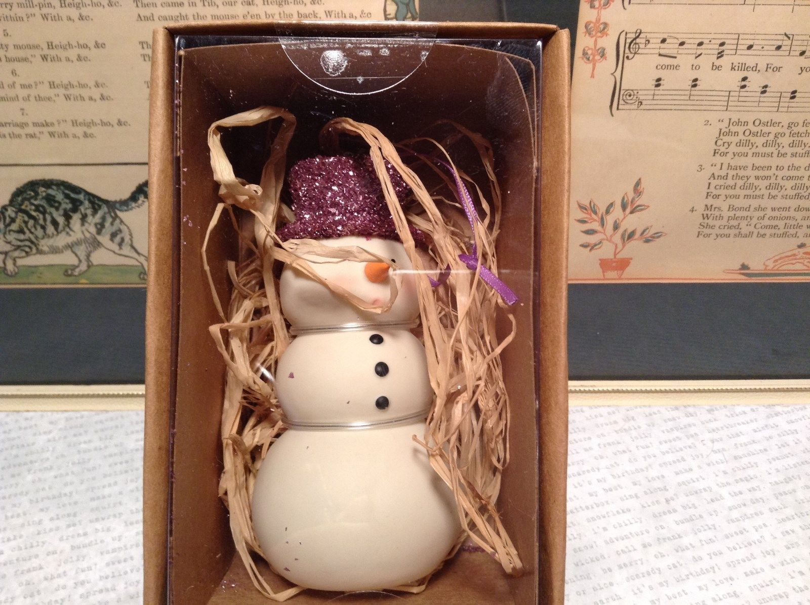 White Enesco Snowman Colored Glittery Hat Green OR Purple OR Gold Department 56