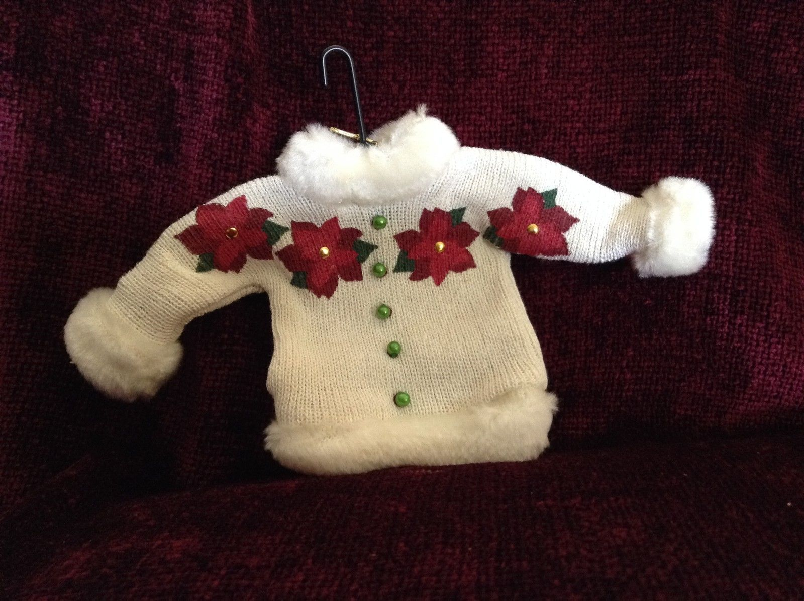 White Department 56 Poseable Ugly Sweater Ornament Red Flowers Green Buttons