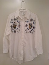 White Floral Button Up Long Sleeve 100 Percent Cotton Shirt India Ink Si... - $24.74