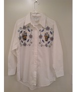 White Floral Button Up Long Sleeve 100 Percent Cotton Shirt India Ink Si... - $39.99